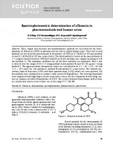Spectrophotometric determination of ofloxacin in ... - Core
