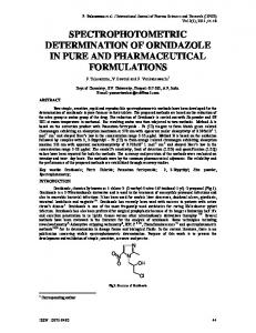 spectrophotometric determination of ornidazole in pure and ...