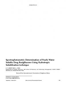 Spectrophotometric Determination of Poorly Water Soluble Drug ...
