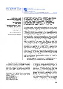 Spectrophotometric determination of repaglinide in tablets based on ...
