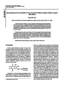 Spectrophotometric Determination of Trace Amounts of Calcium Using ...