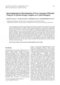 Spectrophotometric Determination of Trace Amounts of ... - J-Stage