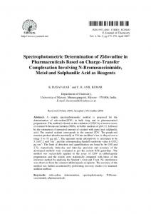 Spectrophotometric Determination of Zidovudine in ... - Hindawi