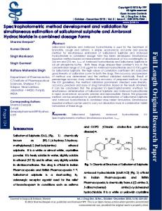 Spectrophotometric method development and validation for ...