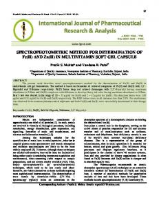 SPECTROPHOTOMETRIC METHOD FOR DETERMINATION ... - ijpra
