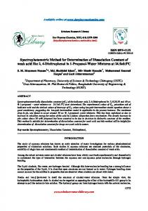 Spectrophotometric Method for Determination of Dissociation Constant ...