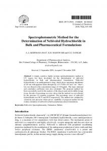 Spectrophotometric Method for the Determination of ... - Hindawi