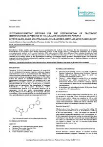 spectrophotometric methods for the determination of trazodone ...