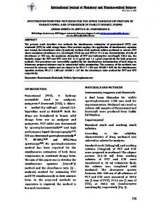 spectrophotometric methods for the simultaneous estimation of ...