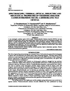 spectroscopic, thermal, optical, dielectric and mechanical properties ...