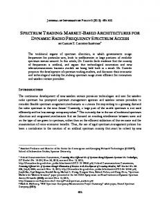 spectrum trading: market-based architectures for ...