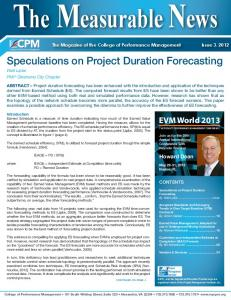 Speculations on Project Duration Forecasting - Earned Schedule