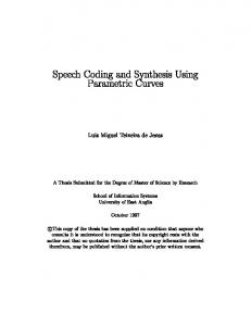 Speech Coding and Synthesis Using Parametric ...