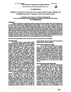 speech emotion recognition using stationary ... - Semantic Scholar