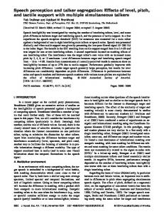 Speech perception and talker segregation: Effects of level, pitch, and ...