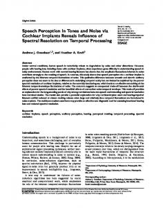 Speech Perception in Tones and Noise via