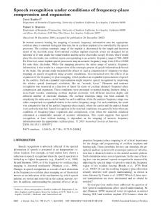 Speech recognition under conditions of frequency-place compression ...