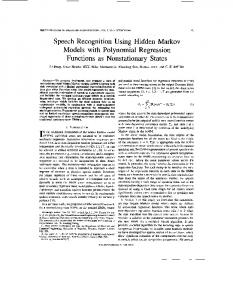 Speech recognition using hidden Markov models with ... - Microsoft
