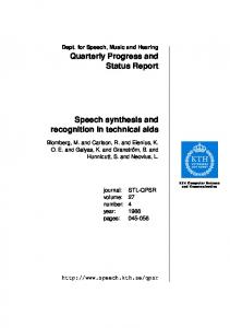 Speech synthesis and recognition in technical aids - Semantic Scholar