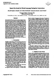 Speech Synthesis for Mixed-Language Navigation ... - Semantic Scholar