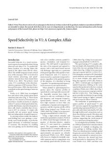 Speed Selectivity in V1: A Complex Affair - Journal of Neuroscience