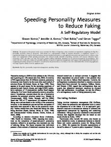 Speeding Personality Measures to Reduce Faking