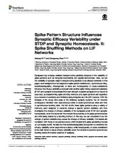 Spike Pattern Structure Influences Synaptic ... - Semantic Scholar