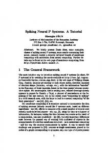 Spiking Neural P Systems. A Tutorial 1 The General ... - Cs.ioc.ee