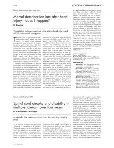 Spinal cord atrophy and disability in multiple sclerosis ... - Europe PMC