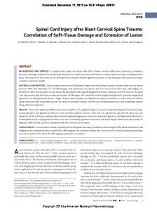 Spinal Cord Injury after Blunt Cervical Spine Trauma: Correlation of ...