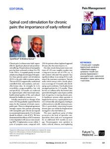Spinal cord stimulation for chronic pain: the ... - Future Medicine