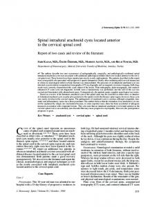 Spinal intradural arachnoid cysts located anterior to the cervical spinal ...