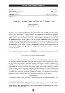 Spiritual Interventions in Juvenile Delinquency