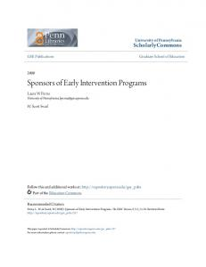Sponsors of Early Intervention Programs - ScholarlyCommons