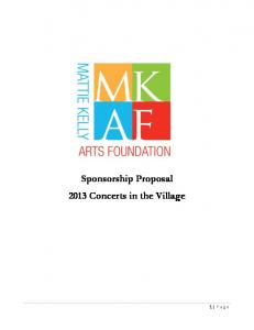 Sponsorship Proposal 2013 Concerts in the Village