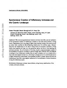 Spontaneous Creation of Inflationary Universes and the Cosmic ...