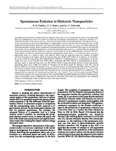 Spontaneous Emission in Dielectric Nanoparticles - Springer Link