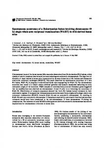 Spontaneous occurrence of a Robertsonian fusion involving ...