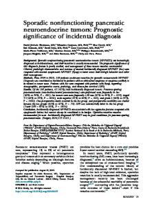 Sporadic nonfunctioning pancreatic neuroendocrine tumors - Surgery