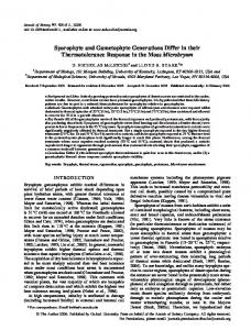 Sporophyte and Gametophyte Generations Differ in their ...