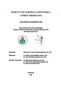 SPORT IN THE EUROPEAN UNION FROM A CYPRIOT PERSPECTIVE