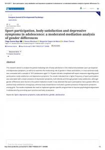 Sport participation, body satisfaction ...
