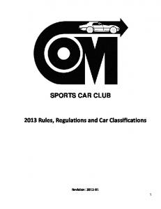 SPORTS CAR CLUB 2013 Rules, Regulations and Car Classifications