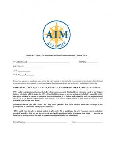 Sports Consent Form