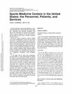 Sports Medicine Centers in the United States: the ...
