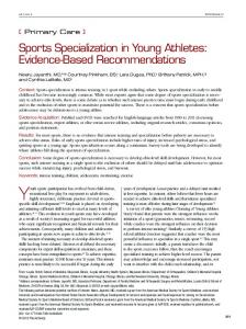 Sports Specialization in Young Athletes - Semantic Scholar