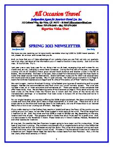 Spring 2013 Newsletter click here to view full details