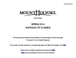 Spring 2014 Class Schedule - Mount Holyoke College