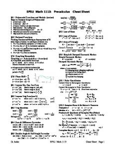 SPSU Math 1113: Precalculus Cheat Sheet