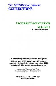 Spurgeon - Lectures To My Students Vol. 1